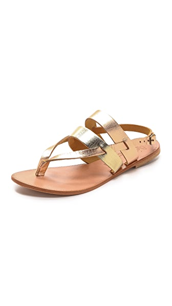 Joie A la Plage Positano Metallic Sandals - Platinum/Rose Gold