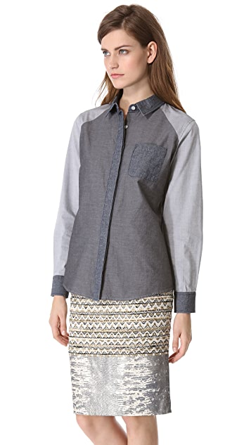 Jonathan Simkhai Colorblock Oxford Shirt