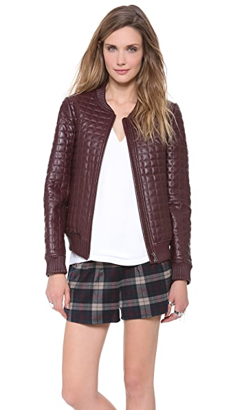 Jonathan Simkhai Leather Bomber Jacket