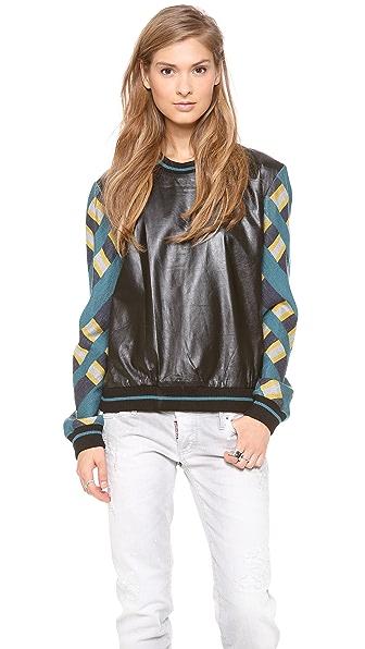 Jonathan Simkhai Leather Check Sweatshirt