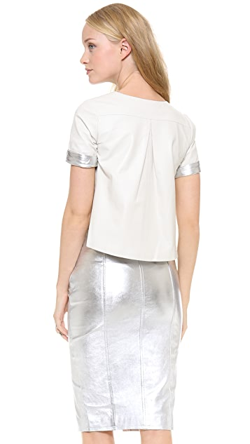 Jonathan Simkhai Cropped Leather Tee