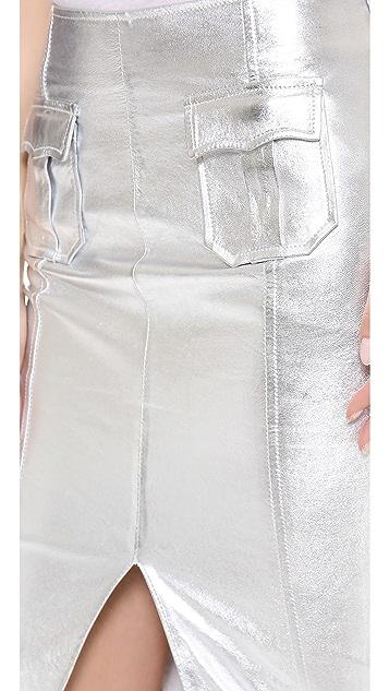 Jonathan Simkhai Leather Pocket Pencil Skirt