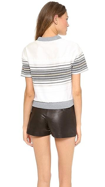 Jonathan Simkhai Tie Front Henley Combo Shirt
