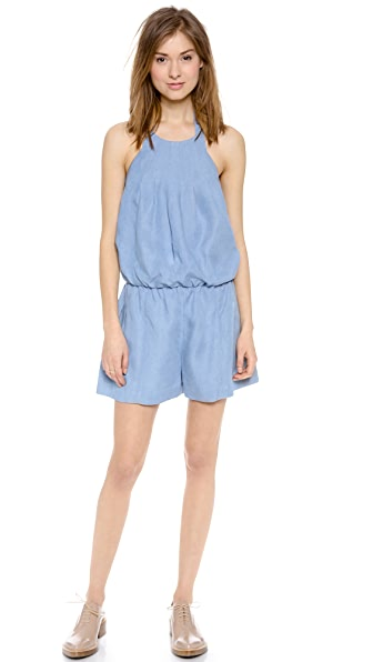 Jonathan Simkhai Short Pleat Denim Romper