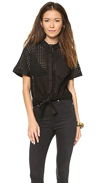 Jonathan Simkhai Tie Front Eyelet Top