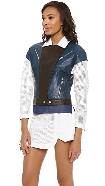 Jonathan Simkhai Moto Tran Leather Jacket