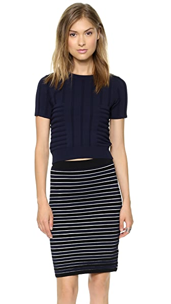 Jonathan Simkhai Emboss Stretch Knit Top