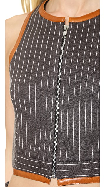 Jonathan Simkhai Pinstripe Neo Zip Crop Top