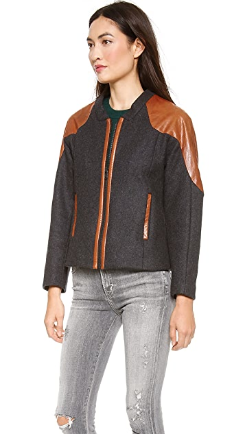 Jonathan Simkhai Wool & Leather Jacket