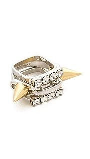 Joomi Lim 巴洛克朋克风饰钉和水晶戒指套装