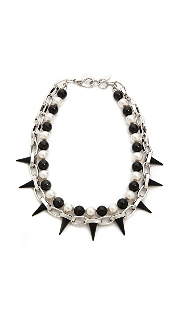 Joomi Lim Mania Chain Spike Necklace with Imitation Pearls