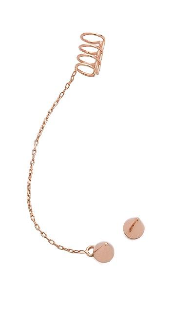 Joomi Lim Three Bar Chain & Spike Earrings