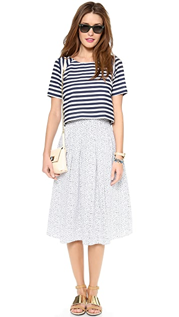 J.O.A. Striped Short Sleeve Top