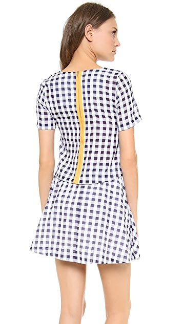 J.O.A. Short Sleeve Gingham Top