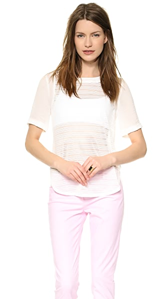 J.O.A. Striped Half Sleeve Top