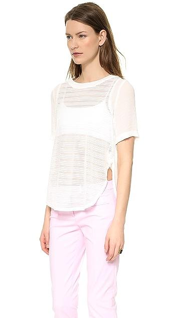 J.O.A. Striped Half Sleeve Top