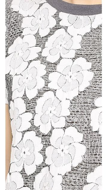 J.O.A. Knit Jacquard Floral Tee