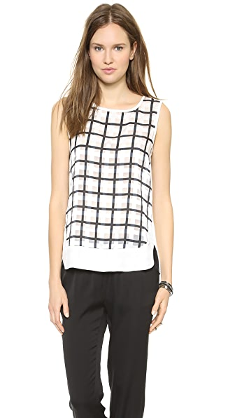 J.O.A. Check Print Sleeveless Top