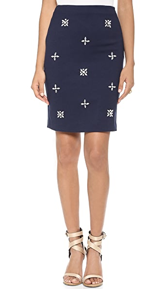 J.O.A. Embellished Pencil Skirt