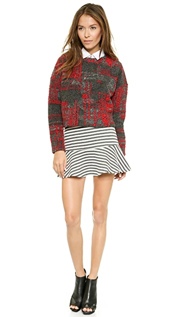 J.O.A. Knit Top with Check Pattern
