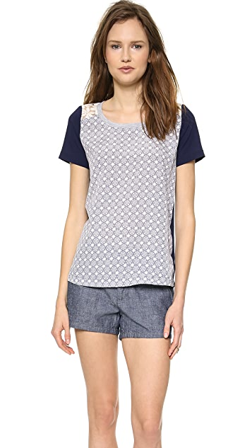 J.O.A. Printed Top With Contrast Lace