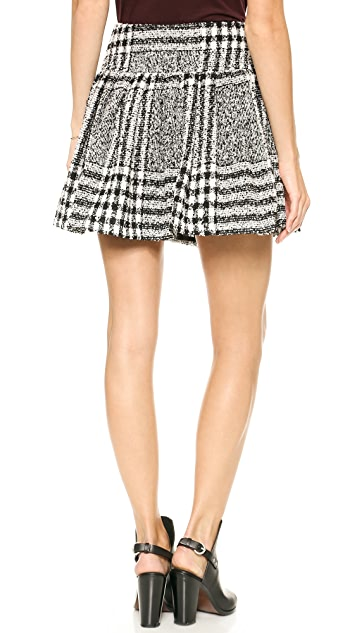 J.O.A. Printed Skirt in Checked Tweed