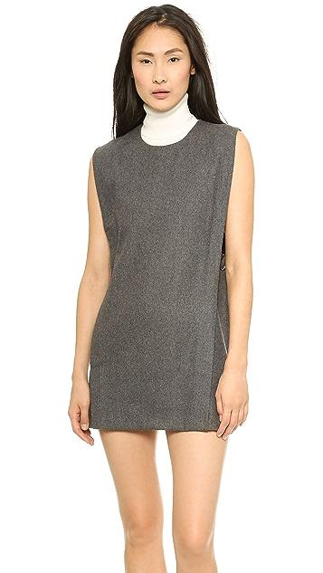 J.O.A. Sleeveless Woolen Dress with Buckle Detail