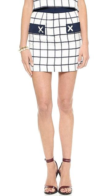 J.O.A. Plaid Woven Skirt with Pocket Detail