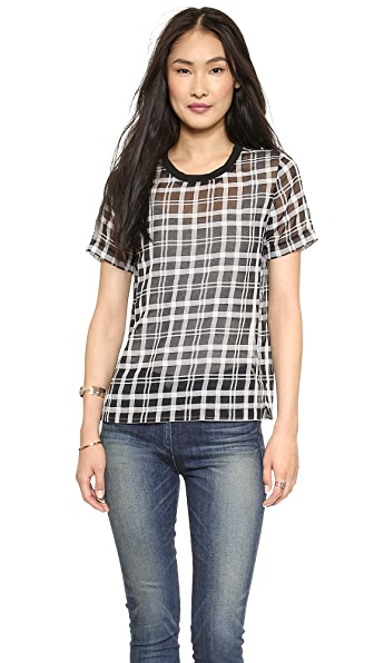 J.O.A. Checked Organza T-Shirt