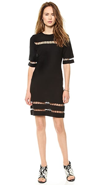 J.O.A. Short Sleeve Dress with Mesh Inserts