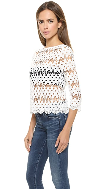 J.O.A. Wave Stripped Lace Top