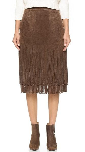 J.O.A. Suede Fringe Contrast Skirt - Brown