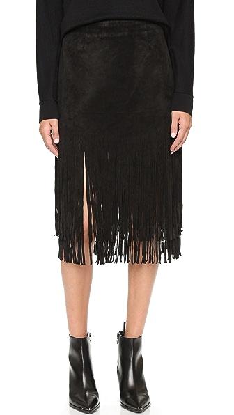 J.O.A. Suede Fringe Contrast Skirt