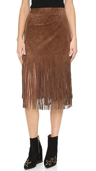 J.O.A. Fringe Contrast Skirt - Brown