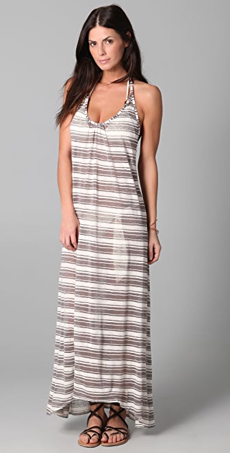 JOSA tulum Striped Low Back Halter Dress