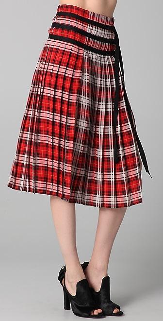 Joseph Glen Plaid Skirt with Slits
