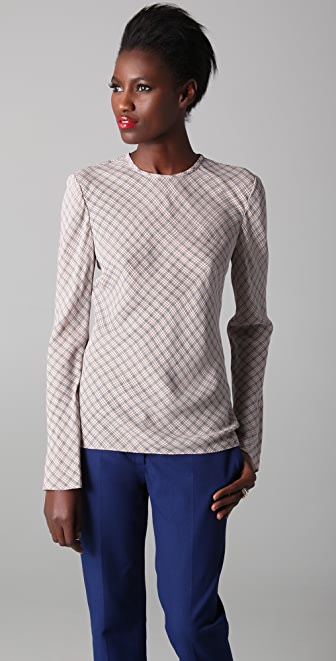 Joseph Liberty Check Blouse with Open Back