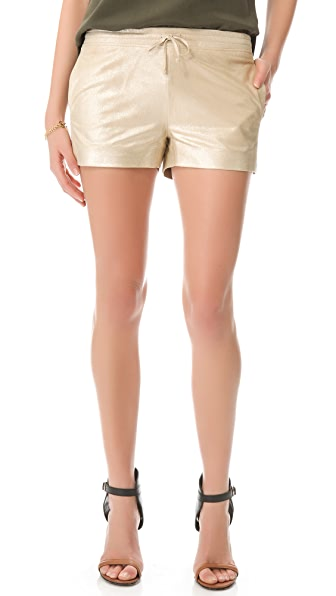 Joseph Metallic Leather Shorts