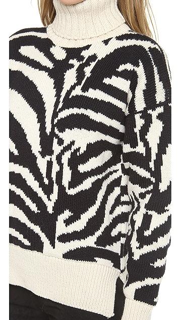 Joseph Zebra Turtleneck Sweater