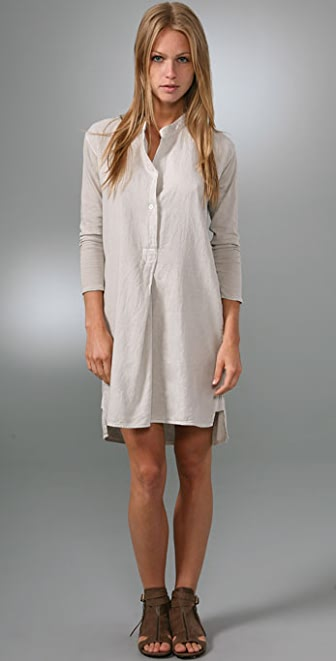 James Perse Front Pleated Shirtdress