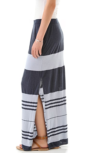 James Perse Stripe Column Slit Skirt