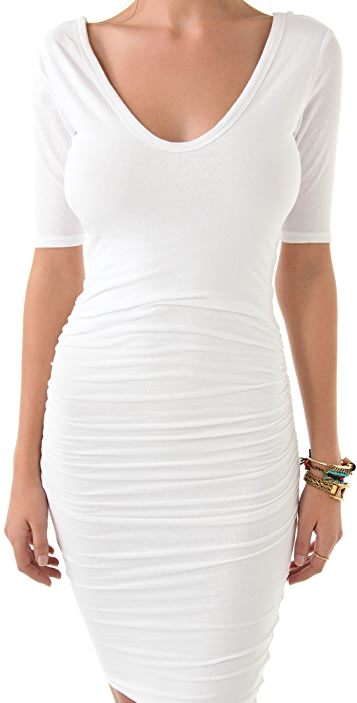 James Perse Sexy Deep V Short Sleeve Dress