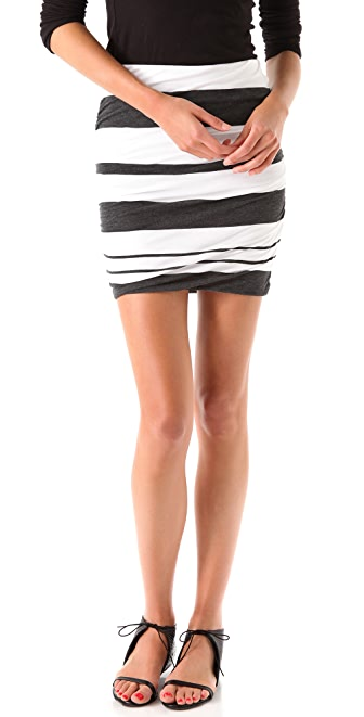 James Perse Ruched Stripe Miniskirt
