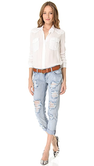 James Perse Contrast Stitch Shirt