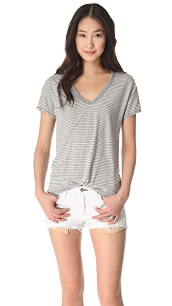 James Perse Easy V Neck Stripe Tee