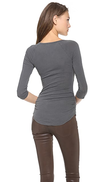 James Perse Skinny Ruched Baseball Tee
