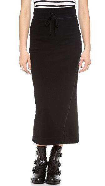 James Perse Fleece Twisted Seam Maxi Skirt