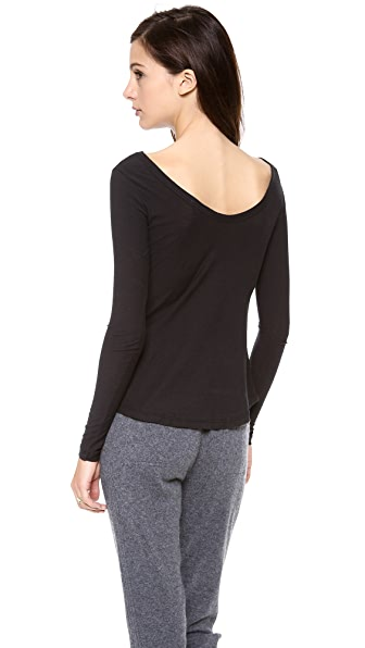 James Perse Sheer Slub Long Sleeve Ballet Tee