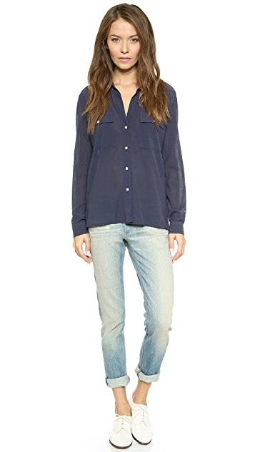 James Perse Silk Blend Pocket Shirt