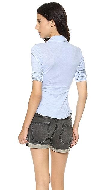 James Perse Slub Contrast Panel Shirt